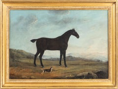 A Black Hack with a terrier, in a landscape