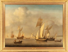 A royal yacht, men o'war, and two galliots becalmed off a coast Oil on canvas