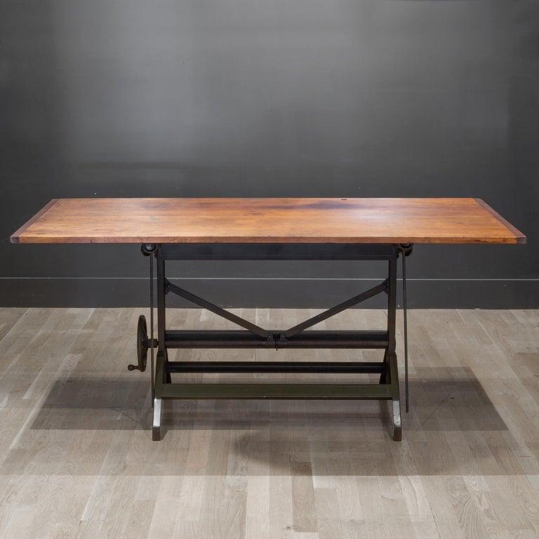 American Charles Bruning Industrial Adjustable Dining/Desk Drafting Table circa 1940-1950