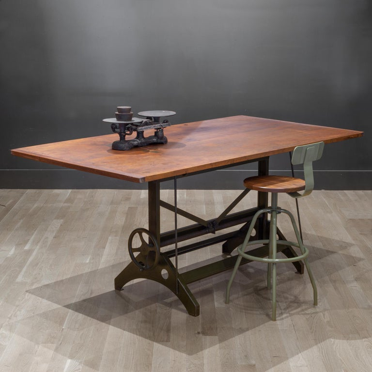 Charles Bruning Industrial Adjustable Dining/Desk Drafting Table circa 1940-1950 In Good Condition In San Francisco, CA