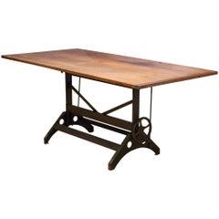 Charles Bruning Industrial Adjustable Dining/Desk Drafting Table circa 1940-1950