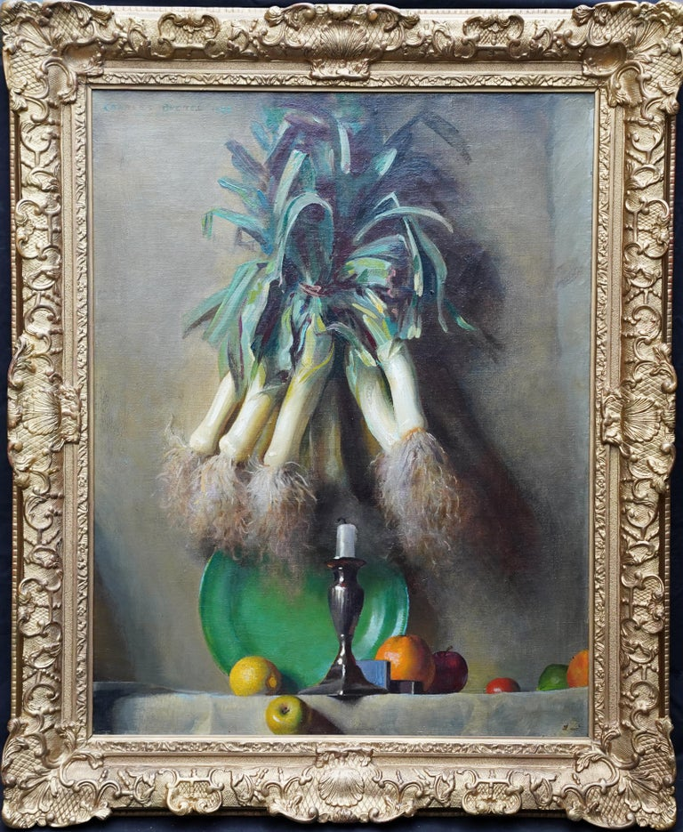 Still Life of Leeks - British 1930's Art Deco fruit and vegetables oil painting  For Sale 10
