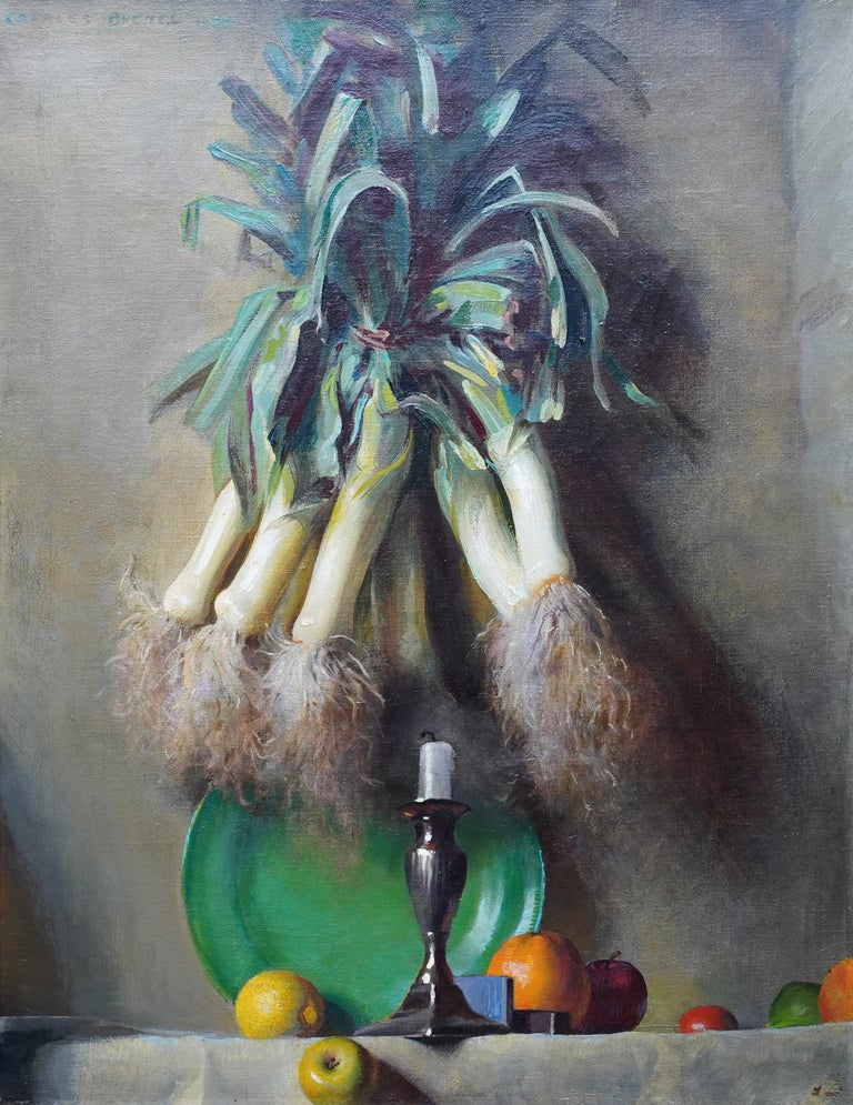 Still Life of Leeks - British 1930's Art Deco fruit and vegetables oil painting  - Painting by Charles Buchel