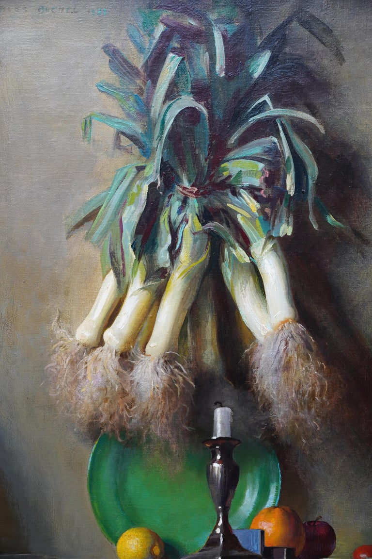 Still Life of Leeks - British 1930's Art Deco fruit and vegetables oil painting  - Gray Still-Life Painting by Charles Buchel