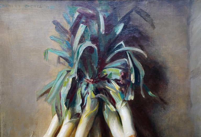 This colourful still life Art Deco oil painting is by noted British artist Charles Buchel. Painted in 1932 it is entitled Still Life of Leeks.  Although primarily known as a portrait painter, Buchel also painted other genre and this is an excellent