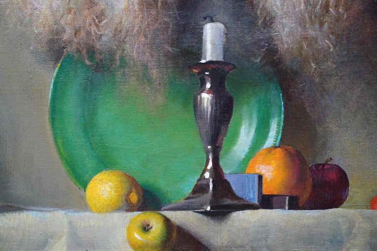 Still Life of Leeks - British 1930's Art Deco fruit and vegetables oil painting  For Sale 2