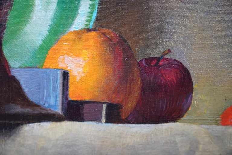Still Life of Leeks - British 1930's Art Deco fruit and vegetables oil painting  For Sale 3