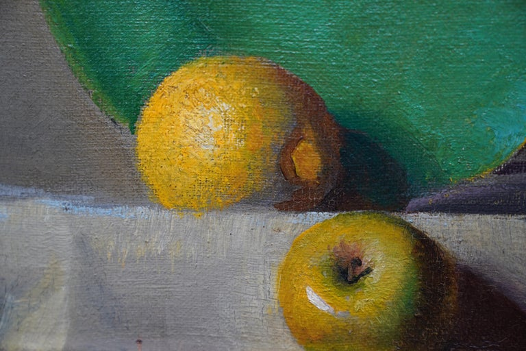 Still Life of Leeks - British 1930's Art Deco fruit and vegetables oil painting  For Sale 4
