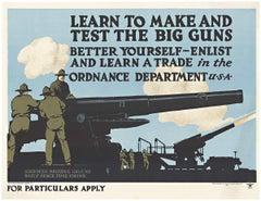 Original Learn to Make and Test Big Guns vintage World War 1 poster