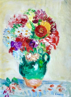 Flowers - 19th Century Oil, Still Life of Flowers in a Jug by Charles Camoin