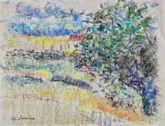 Mas en Provence - 20th Century Pastel, Tree in Landscape by Charles Camoin