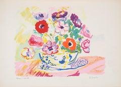Colorful Bouquet - Original Lithograph - Signed