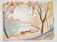 Fall in Paris : Near Seine River - Original Lithograph - Signed