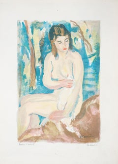 Wiping Nude - Original Lithograph - Handsigned