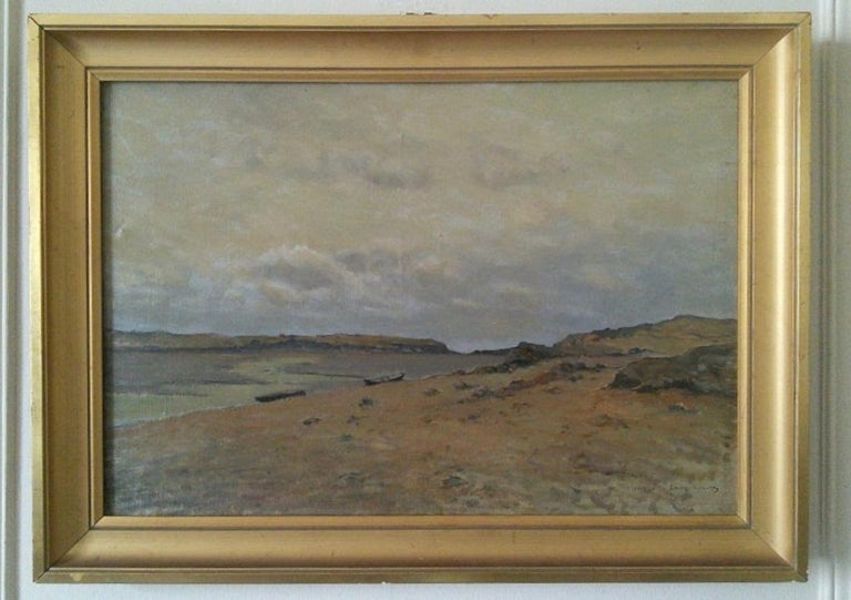 The Somme Bay, France - Gray Landscape Painting by Charles Carlos-Lefebuvre