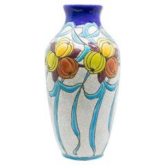 Charles Catteau Art Deco Ceramic Enameled Vase, circa 1920
