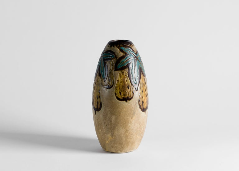 Glazed Charles Catteau, Art Deco Vase, Belgium, circa 1927 For Sale