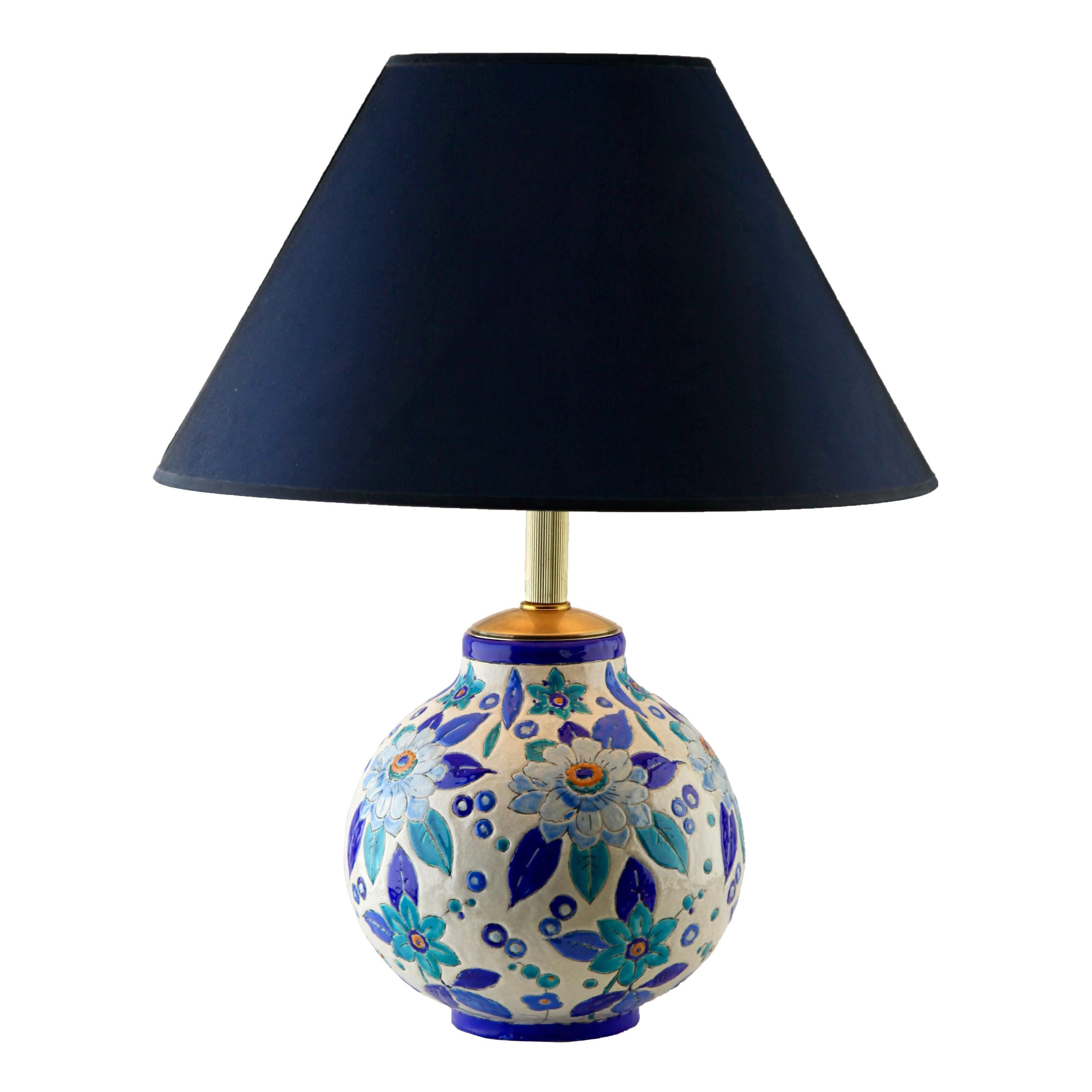 Charles Catteau Boch Frères Keramis Lamp Signed 'décor n° 2139 forme 894'