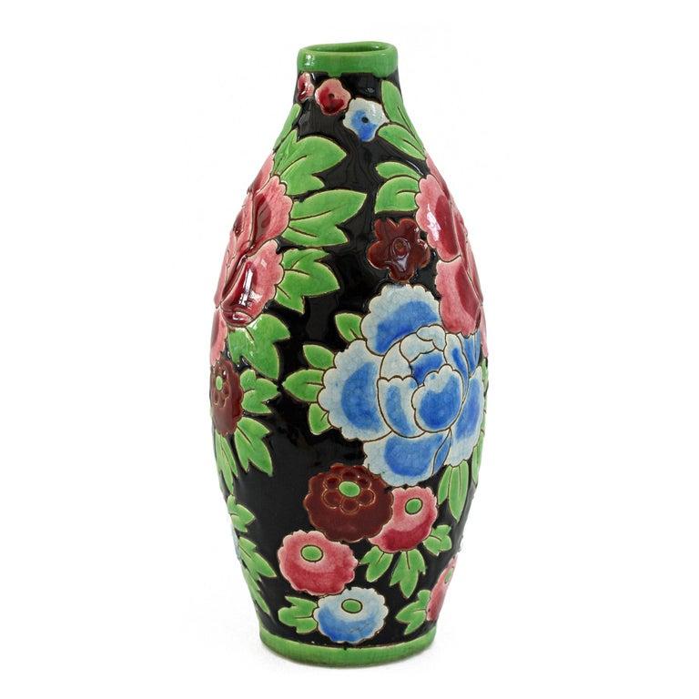 Charles Catteau Boch Freres Keramis Peonies Art Pottery Vase, 1932 For Sale 3