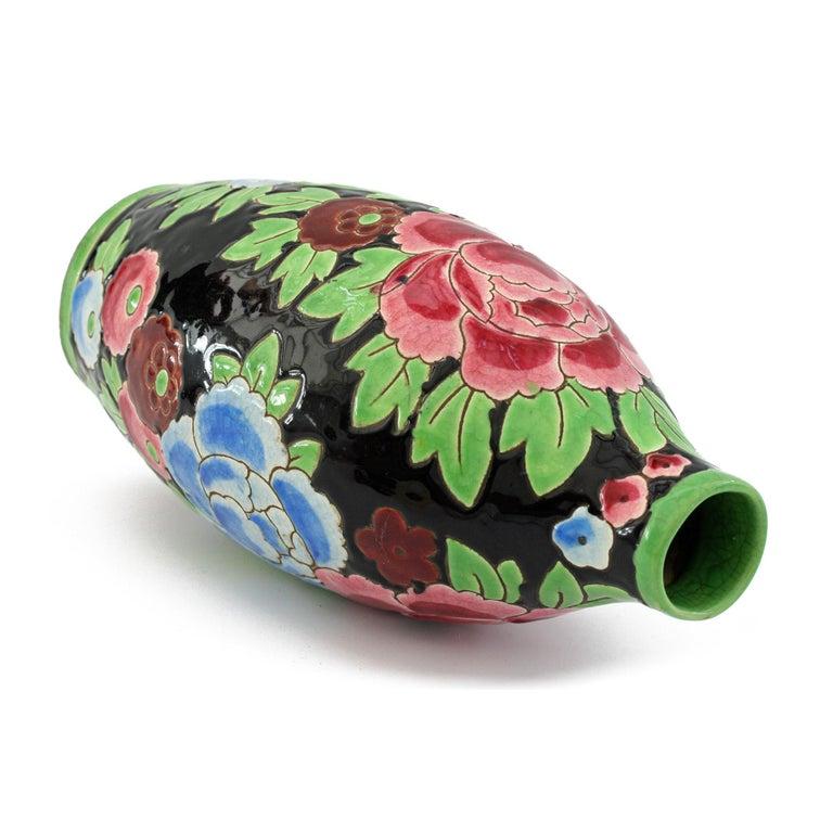 Art Deco Charles Catteau Boch Freres Keramis Peonies Art Pottery Vase, 1932 For Sale