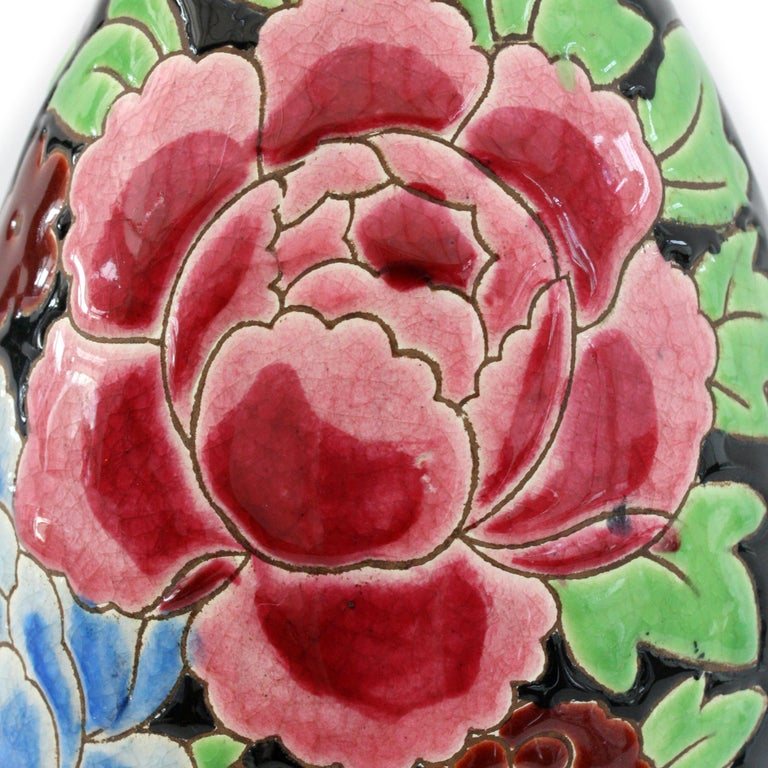 Hand-Painted Charles Catteau Boch Freres Keramis Peonies Art Pottery Vase, 1932 For Sale