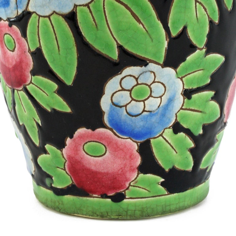 Mid-20th Century Charles Catteau Boch Freres Keramis Peonies Art Pottery Vase, 1932 For Sale