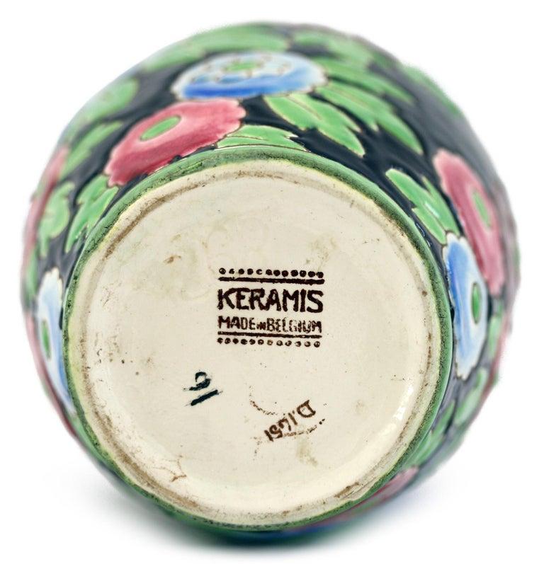 Charles Catteau Boch Freres Keramis Peonies Art Pottery Vase, 1932 For Sale 1
