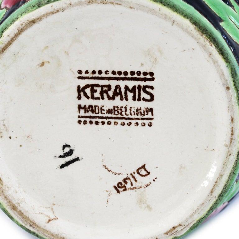 Charles Catteau Boch Freres Keramis Peonies Art Pottery Vase, 1932 For Sale 2