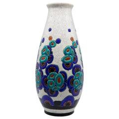 Charles Catteau for Boch Frères Enameled Art Deco Ceramic Vase, circa 1920