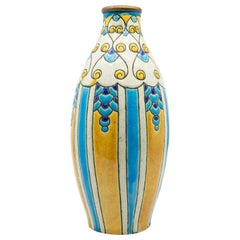 Charles Catteau for Boch Freres Enameled Art Deco Ceramic Vase, circa 1924