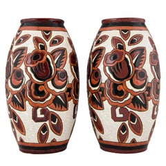 Charles Catteau Pair of Art Deco Ceramic Vases with Flowers Boch Frères, 1926