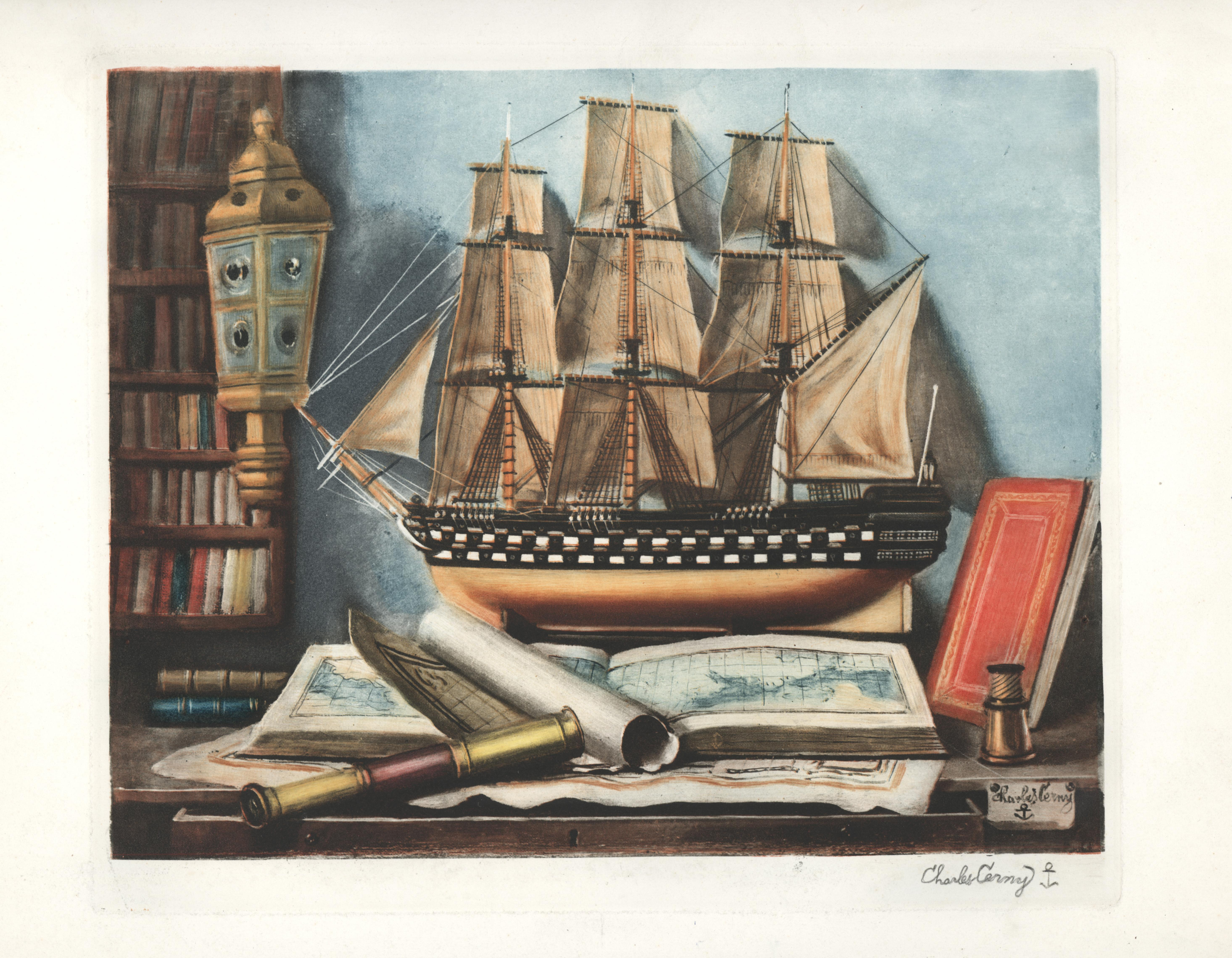 Maritime Still Life with Maps, Charts and a Telescope