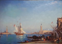 large oil Painting of Venice, Venetian Scene , Grand Canal, Charles Calderon