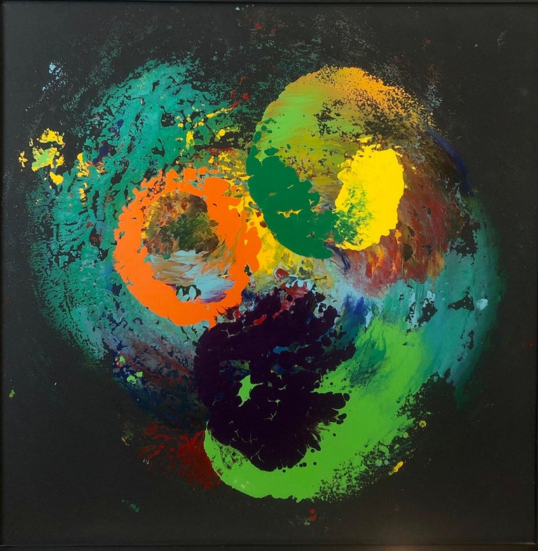 Charles Clough Picture Generation Abstract Expressionist Oil Enamel Painting - Black Abstract Painting by Charles Clough