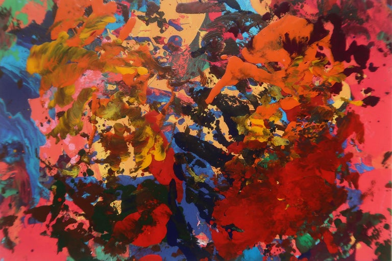 Set of 12 framed abstract paintings Vintage Action Paintings Colorful Hallwalls For Sale 2