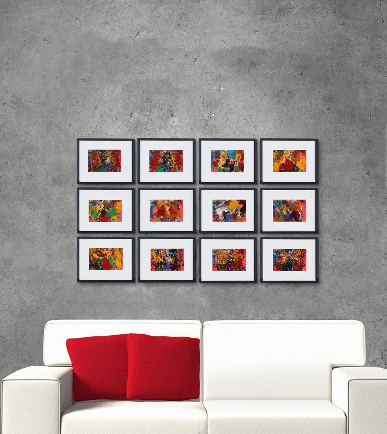 Set of 12 framed abstract paintings Vintage Action Paintings Colorful Hallwalls