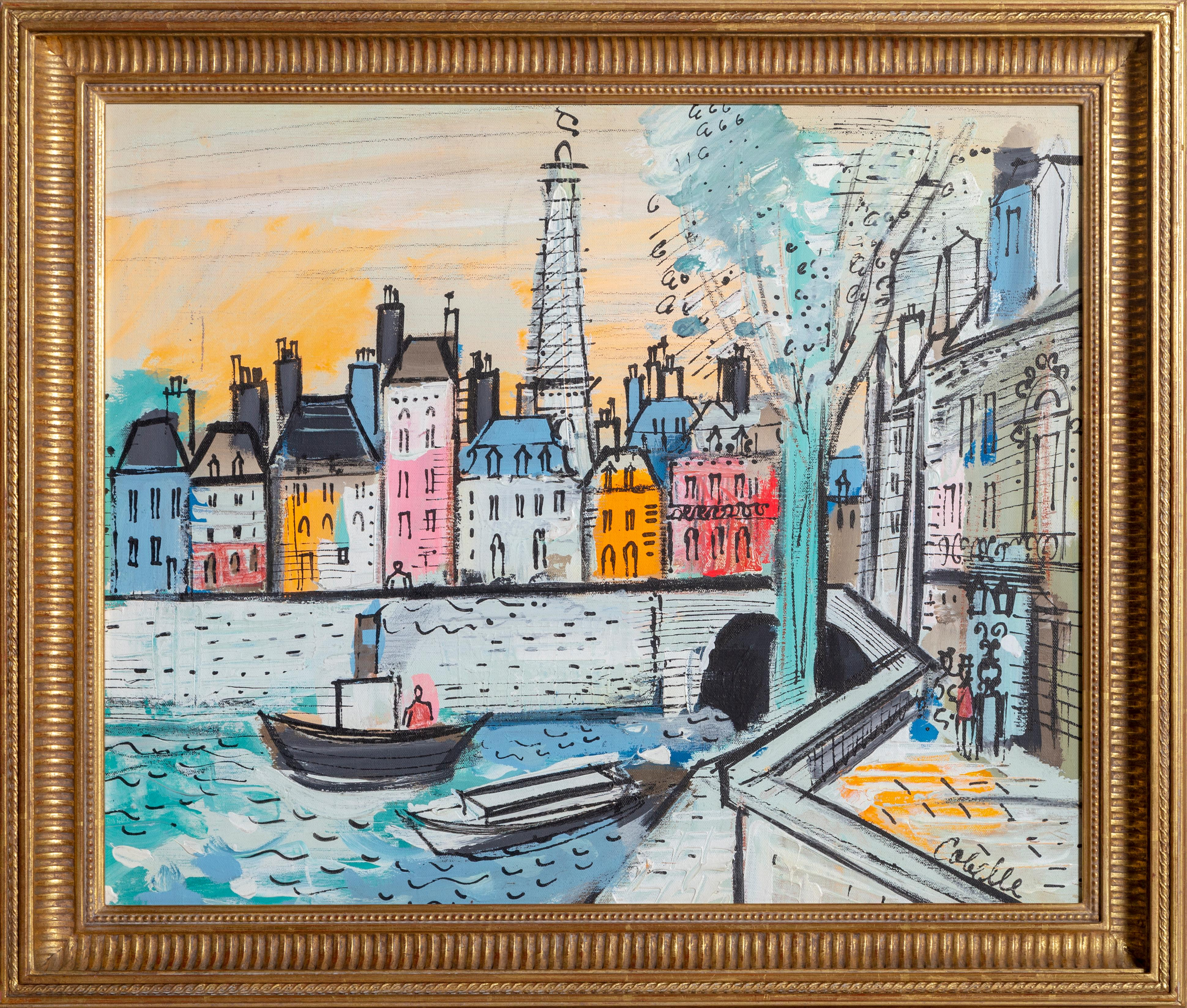 Banks of the Seine River, Parisian Cityscape Painting