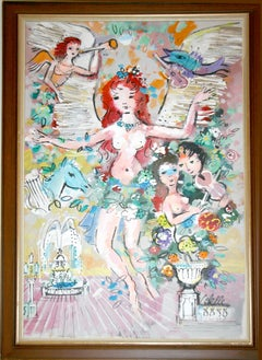 Burlesque (After Chagall), Painting by Charles Cobelle