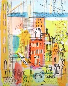 City Street Under Bridge, Painting by Charles Cobelle