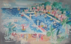 """Coastal Beach, France,"" Charles Cobelle, Colorful Naive French Landscape"