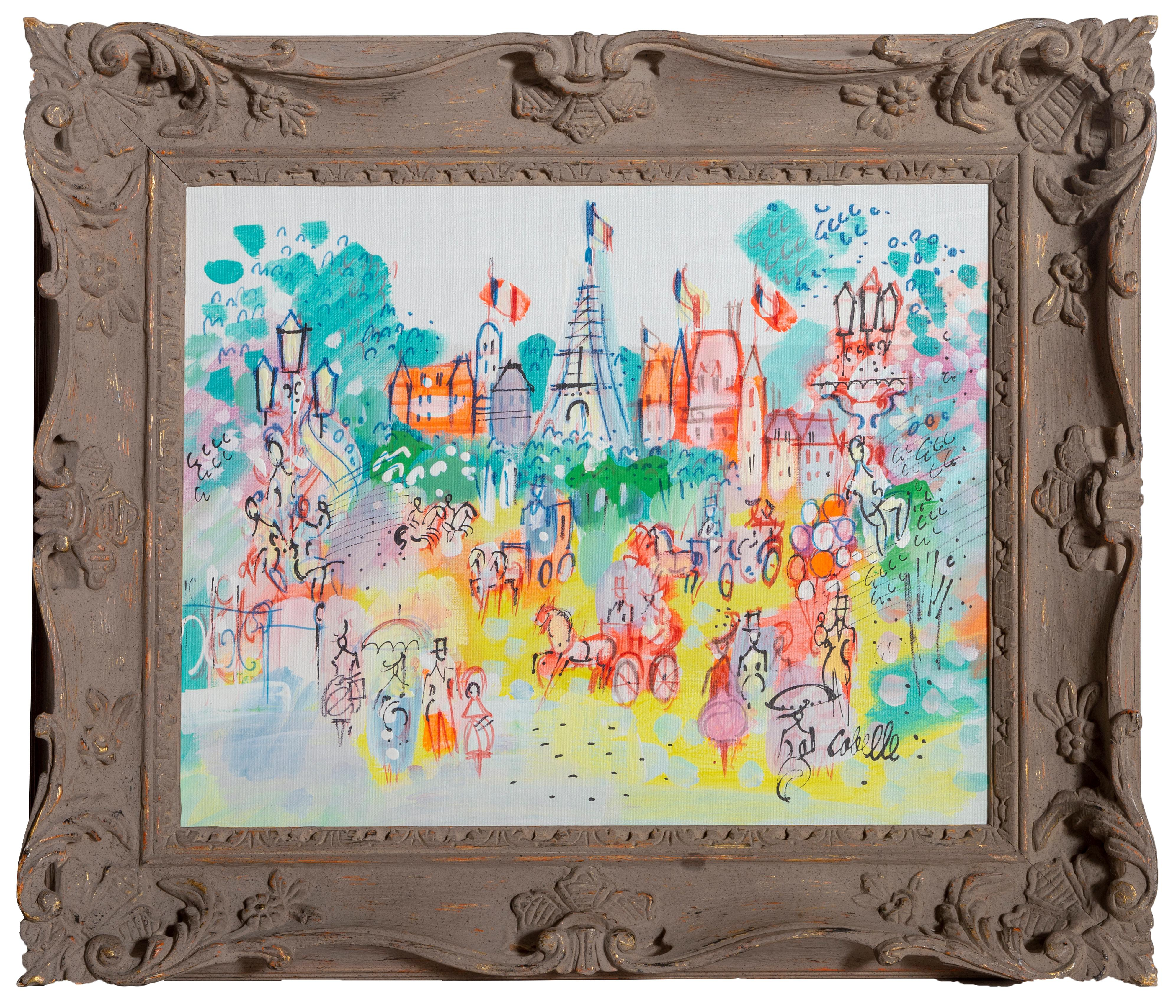 Eiffel Tower Plaza, Parisian Cityscape Painting