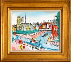 Notre Dame and Bridges, Paris Framed Painting by Charles Cobelle