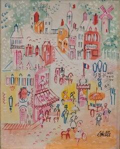 """Paris Street Scene,"" Charles Cobelle, Colorful Naive French Landscape"