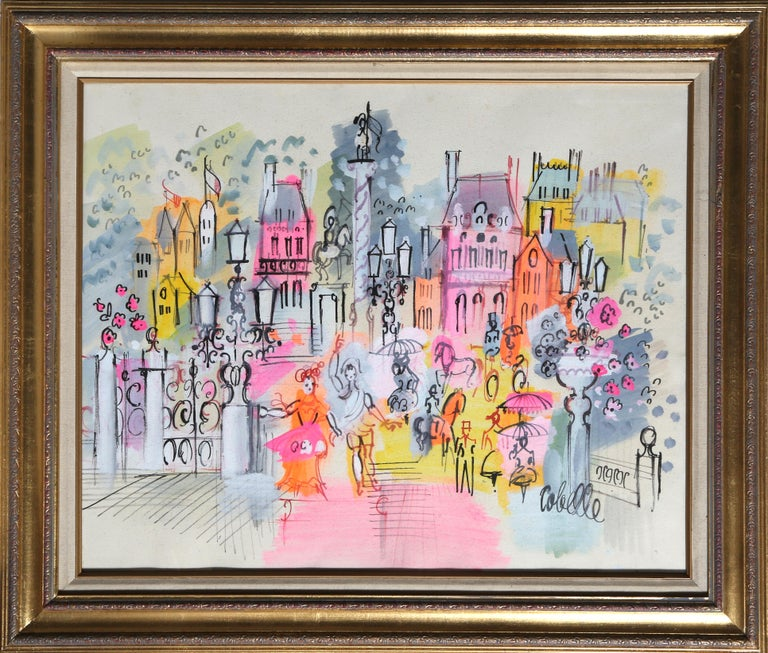 Artist: Charles Cobelle, French (1902 - 1994) Title:  Parisienne Fantasy 1 Year:  1959 Medium:  Watercolor on Paper, signed Size:  24 x 30 in. (60.96 x 76.2 cm) Frame Size:  31 x 37 inches