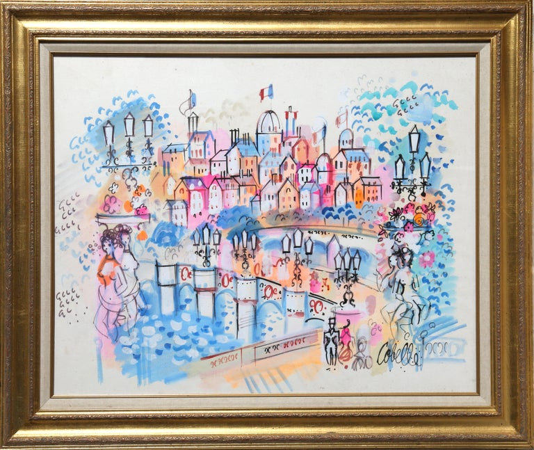 Title:  Parisienne Fantasy 2 Year:  1959 Medium:  Watercolor on Paper, signed Size:  24 x 30 in. (60.96 x 76.2 cm) Frame Size:  31 x 37 inches