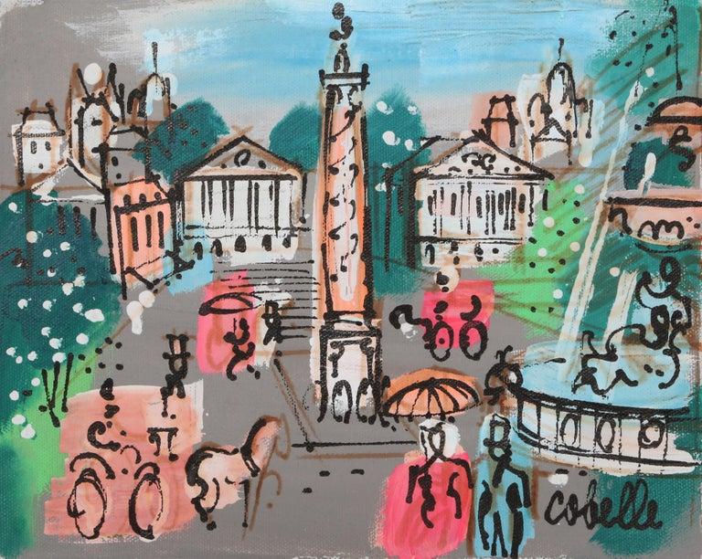 Place Vendôme with Fountain, Paris Cityscape Painting by Charles Cobelle For Sale 1