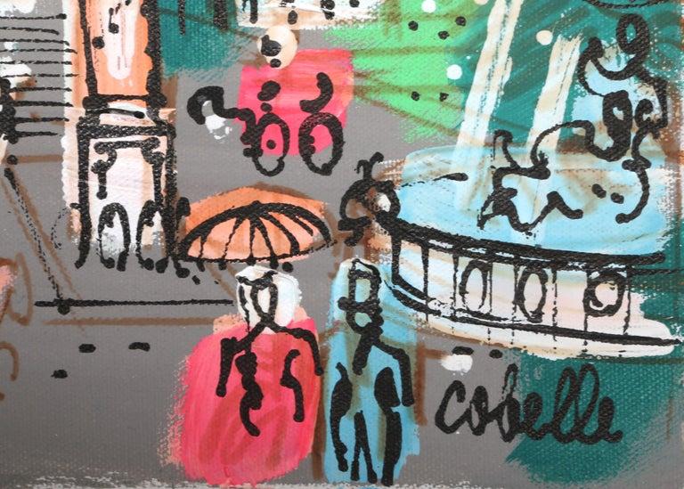 Place Vendôme with Fountain, Paris Cityscape Painting by Charles Cobelle For Sale 2
