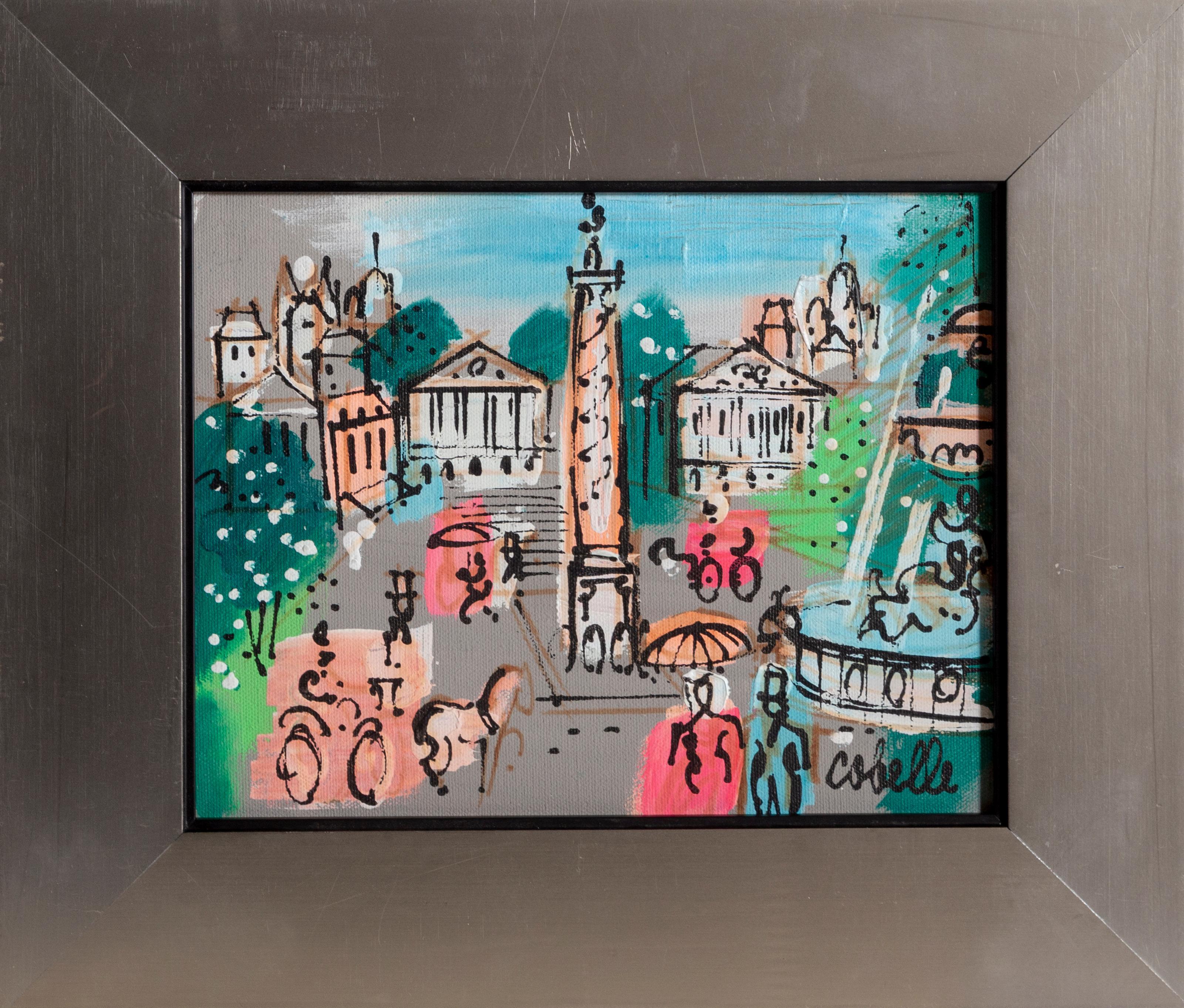 Place Vendôme with Fountain, Paris Cityscape Painting by Charles Cobelle