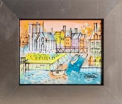 Pont Saint-Louis, Paris Cityscape Painting by Charles Cobelle