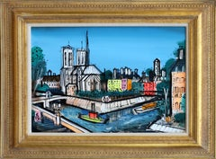 The Seine and Notre Dame, Paris Framed Painting by Charles Cobelle